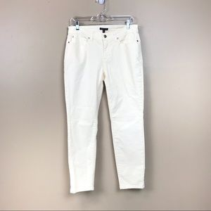 Eileen fisher organic cotton ivory skinny jeans